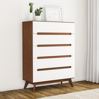 Carson Carrington Sundsvall Mid-century White and Walnut 5-drawer Chest