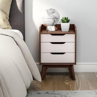 Carson Carrington Borlange Mid-century White and Walnut 3-drawer Nightstand
