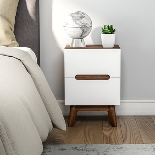 Carson Carrington Sundsvall Mid-century White and Walnut Nightstand