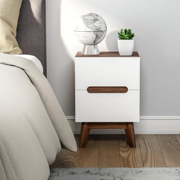 shop carson carrington sundsvall mid century white and walnut nightstand on sale free. Black Bedroom Furniture Sets. Home Design Ideas