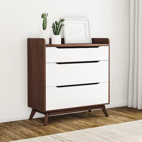Carson Carrington Borlange Mid-century White and Walnut 3-drawer Chest