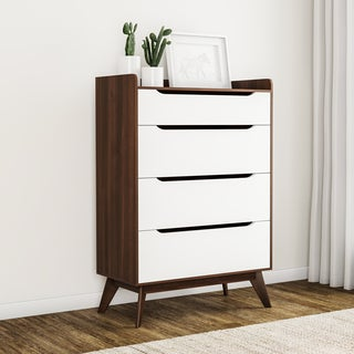 Carson Carrington Borlange Mid-century White and Walnut 4-drawer Chest