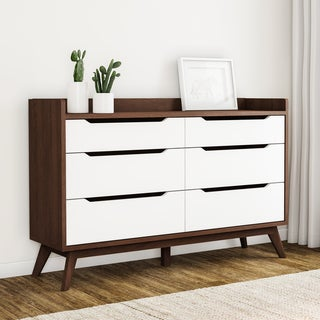 Carson Carrington Borlange Mid-century White and Walnut 6-drawer Chest