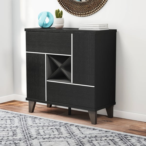 Carson Carrington Rana Modern Multi Storage Black Wine Bar/Cabinet