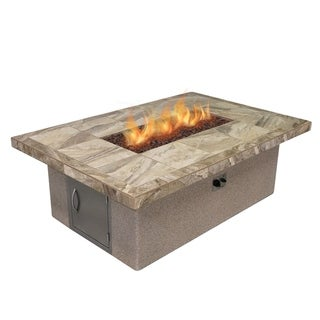 Link to Stucco and Tile Rectangle Gas Fire Pit with Log Set and Lava Rocks Similar Items in Fire Pits & Chimineas