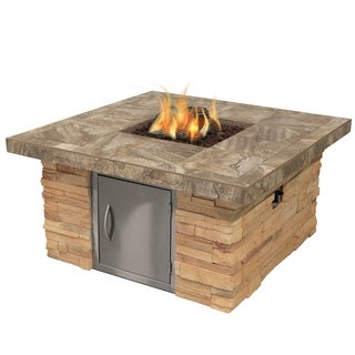 Cultured Stone Propane Gas Fire Pit in Brown with Log Set and Lava Rocks