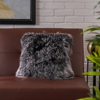 Zally Glam Shaggy Lamb Fur 16-Inch Square Throw Pillow by Christopher Knight Home