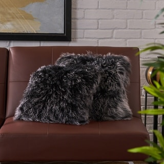 Zally Glam Shaggy Lamb Fur 16-Inch Square Throw Pillows (Set of 2) by Christopher Knight Home
