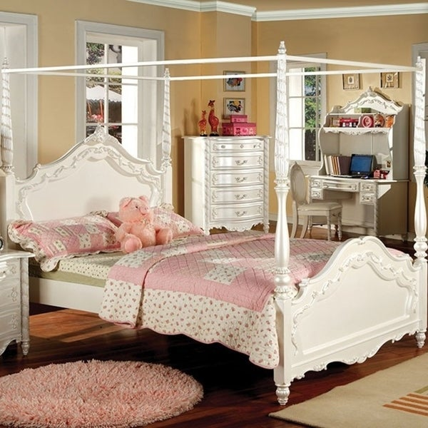 Victorian Style Traditional Wooden Twin Bed White