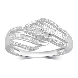 Divina Sterling Silver 1 10ct TDW Diamond Anniversary Ring