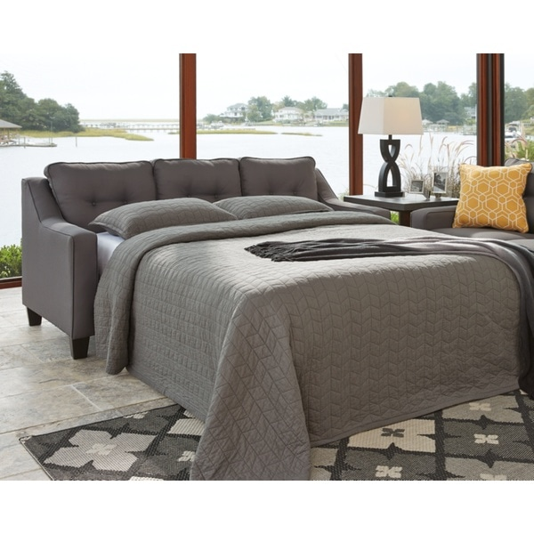 Shop Benchcraft Aldie Nuvella Contemporary Gray Queen