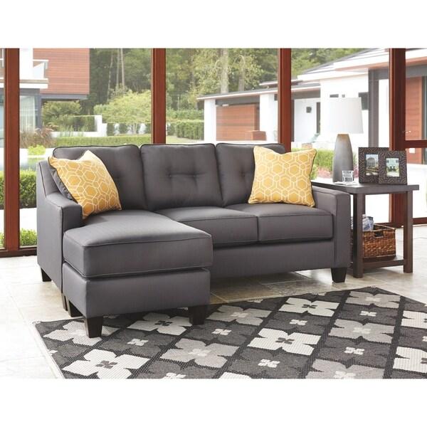 Shop Benchcraft Aldie Nuvella Contemporary Gray Sofa