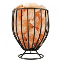 Himalayan Natural Salt Air Purifying Oval Style Mesh Basket Lamp