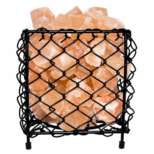 Himalayan Natural Salt Air Purifying Square Style Mesh Basket Lamp