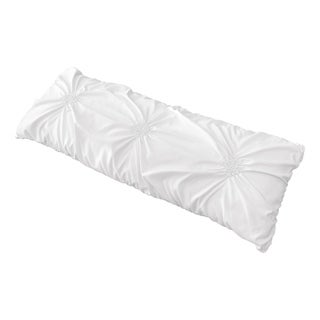 Sweet Jojo Designs Solid Color White Shabby Chic Harper Collection Body Pillow Case (Pillow Not Included)