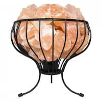 Himalayan Natural Salt Air Purifying Flower Style Mesh Basket Lamp