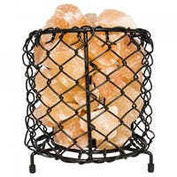 Himalayan Natural Salt Air Purifying Cylinder Style Mesh Basket Lamp