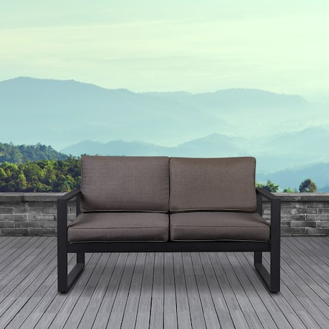 Baltic Outdoor Black Love Seat by Real Flame