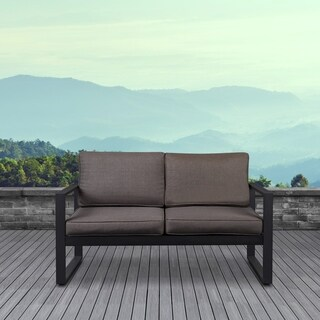 Real Flame Baltic Outdoor Love Seat Black w/Cushions