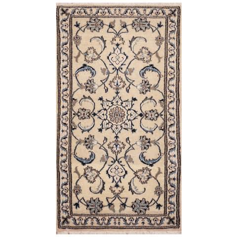 Handmade One-of-a-Kind Nain Wool and Silk Rug (Iran) - 2'4 x 4'6