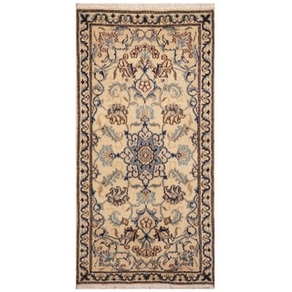 Handmade Nain Wool and Silk Rug (Iran) - 2'3 x 4'6