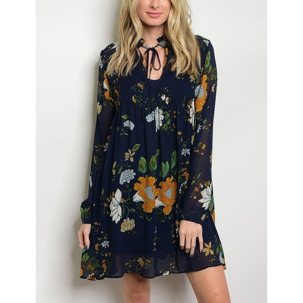 a877700fd4c0b8 Shop JED Women s Long Sleeve Chiffon Floral Tunic Dress - Free Shipping On  Orders Over  45 - Overstock - 20546497