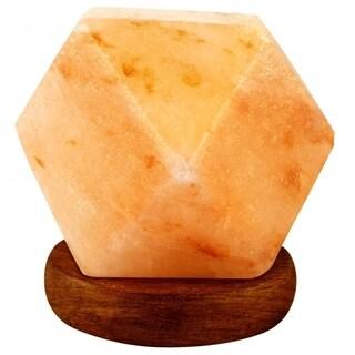 LED USB Lamp Diamond Shape Pure Himalayan Crystal Rock Pink Salt