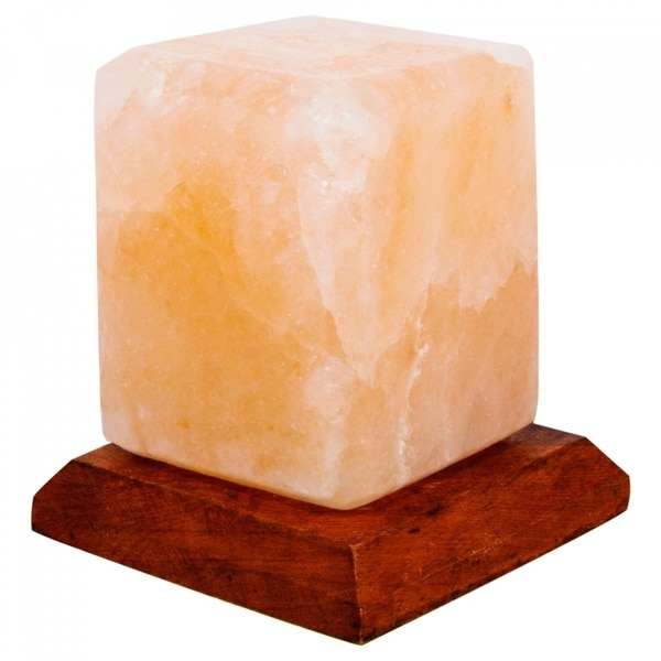 LED USB Lamp Cube Shape Pure Himalayan Crystal Rock Pink Salt