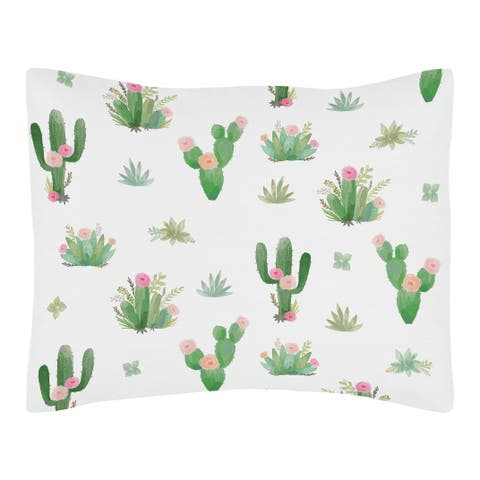 Sweet Jojo Designs Pink and Green Boho Watercolor Cactus Floral Collection Standard Pillow Sham