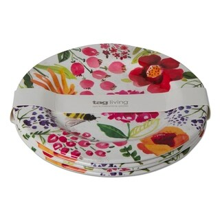 TAG Fresh Flowers Melamine Dinner Plate Set Of 4 Multi