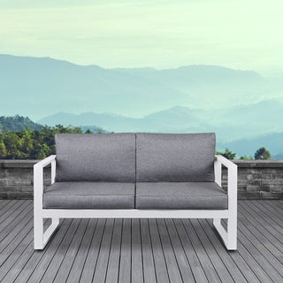 Real Flame Baltic Outdoor Love Seat White w/Cushions