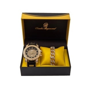 Charles Raymond Iced Out Black Rubber Hip Hop Bullet Gold Tone Watch w/ Bling'd Out Gold Cuban Bracelet -