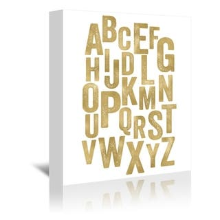 Americanflat 'Alphabet Gold On White' Gallery Wrapped Canvas