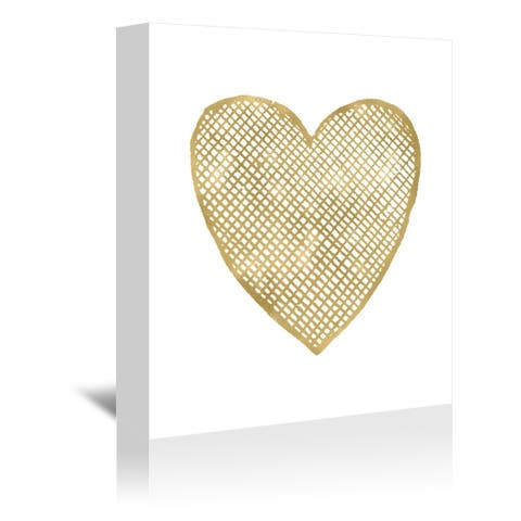 Americanflat 'Heart Crosshatched Gold On White' Gallery Wrapped Canvas