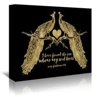 Americanflat 'Peacock Pair Solomon3 4 Gold On Black' Gallery Wrapped Canvas
