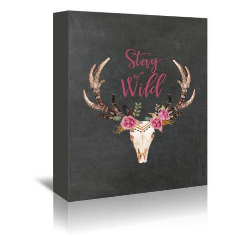 Americanflat 'Stay Wild Skull Chlkbrd' Gallery Wrapped Canvas