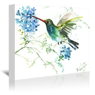Americanflat 'Hummingbird With Blue Flowers' Gallery Wrapped Canvas