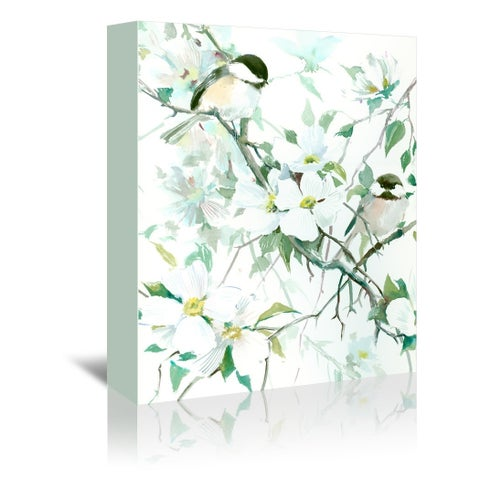 Americanflat 'Chickadees And Dogwood' Gallery Wrapped Canvas