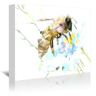 Americanflat 'Honey Bee And White Flower' Gallery Wrapped Canvas