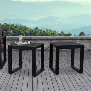 Baltic Set of 2 End Tables Black by Real Flame - 20L x 18W x 20.5H