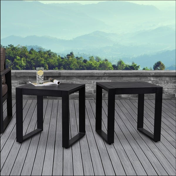 Baltic Set of 2 End Tables Black by Real Flame