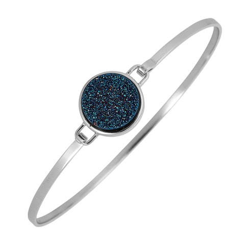 Sterling Silver and Druzy Bangle Bracelet