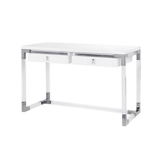 Pasargad's Firenze contemporary Desk, Lacquer top with lucite/chrome base
