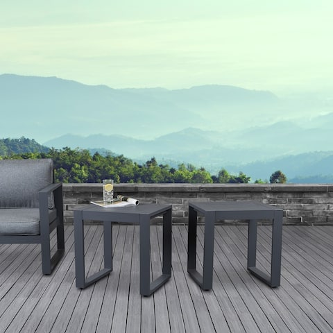 Baltic Set of 2 End Tables Gray by Real Flame - 20L x 18W x 20.5H