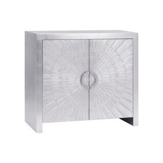 Pasargad's Firenze Modern 2 Doors Nickel Plated Distressed Cabinet
