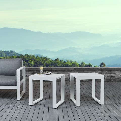 Baltic Set of 2 End Tables White by Real Flame