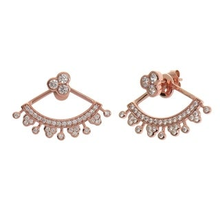 Eternally Haute 14k Rose Gold Pave Fan Front Back Ear Cuff Jacket