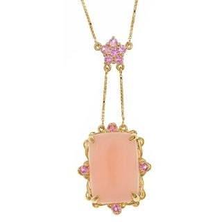 Anika and August Goldover Silver Pink Opal and Pink Sapphire Necklace