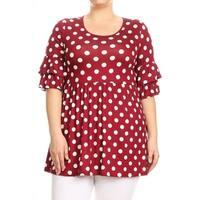 Women's Plus Size Polka Dot Ruffled Sleeve Tunic Top