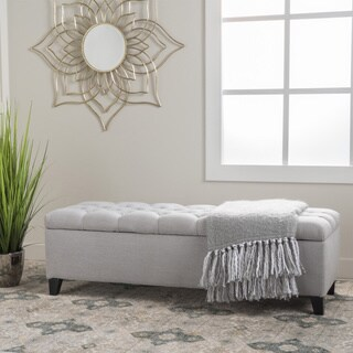 Ottilie Fabric Storage Ottoman by Christopher Knight Home in Ivory Velvet (As Is Item)